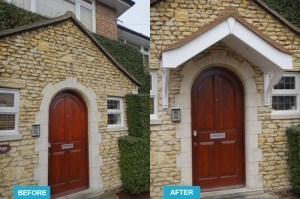 Door Canopy before and after Example