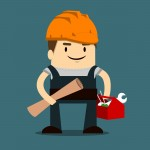 animated cartoon builder with a toolbox and plans