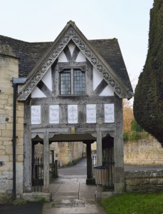 St. Mary's Church in Gloucestershire, UK with barge boards that have bells carved into them
