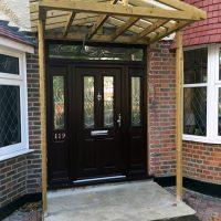 Timber frame of door canopy