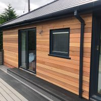 Cedar wood cladding installation