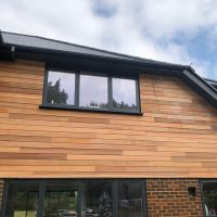 Cedar wood timber cladding