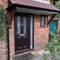 Door canopy with rosewood fascias